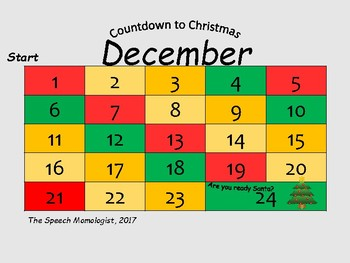 Countdown to Christmas: Speech Therapy Game