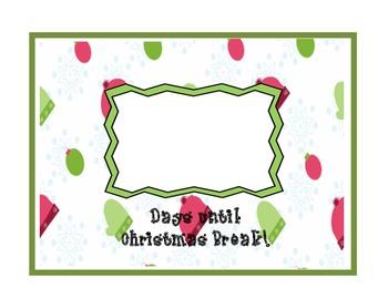 Countdown to Christmas Break mittens, hats, snowflakes