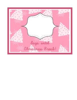 Countdown to Christmas Break pink tree pattern