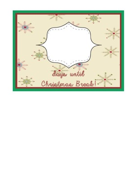 Countdown to Christmas Break snowflake pattern
