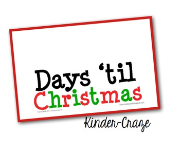 Countdown to Christmas Classroom Sign