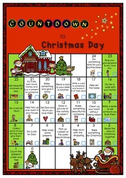 Countdown to Christmas Day Calendar