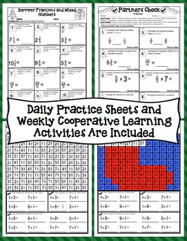 4th Grade Christmas Math Countdown: 4th Grade Christmas Fraction Activities