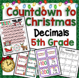 5th Christmas Math Countdown: 5th Grade Christmas Decimal Activities