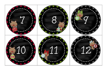 Countdown to Christmas Muffin Tin Covers - 12 Day Countdown - Rudolph Ornaments