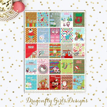 Countdown to Christmas Printable Planner Sticker Large Boxes Squares