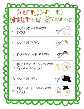 Countdown to Christmas Snowman Craft - template & visual student instructions