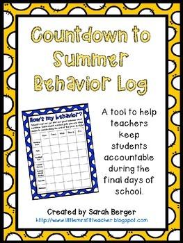 Countdown to Summer Behavior Log