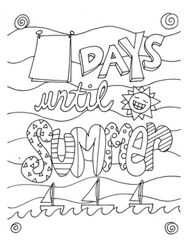 Countdown to Summer DESIGN Coloring Page