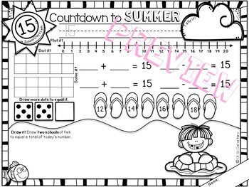 Kindergarten Math Review - Summer Countdown