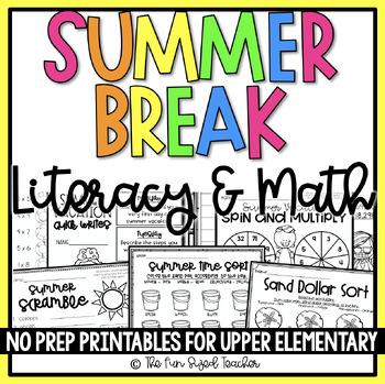 Summer Vacation ELA & Math No Prep Printables