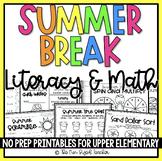 Summer Vacation ELA & Math Printables   Distance Learning