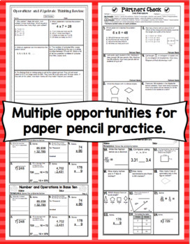 4th Grade Math Test Prep: Countdown to Testing! All Standards Review Bundle
