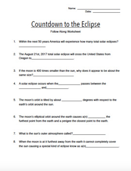 Countdown to the Eclipse Documentary Follow Along Movie Worksheet