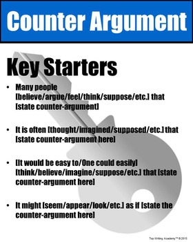Counter Argument Starters Poster