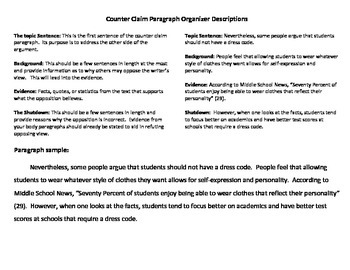 Counter Claim Paragraph Graphic Organizer