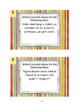 Counter-Claim Rebuttal Task Cards