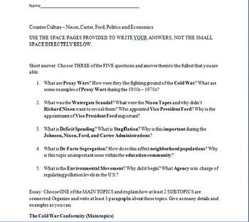 Counter Culture/Nixon, Ford, Carter Exam