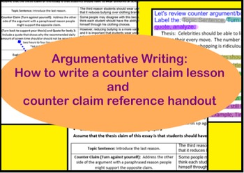 Counter argument/counter claim handout and slides- Argumentative writing