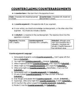 Counterclaim & Rebuttals: Handout & Graphic Organizer