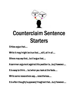 Counterclaim Sentence Starters