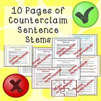 Counterclaim Sentence Stems Handout and Printable