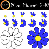 Counting 0-10 Blue Flower Petals 22 Clips Color and BW