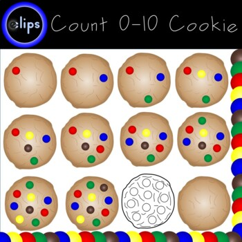 Counting 0-10 Cookie Clip Art Blue Red Yellow Green Candy Pieces 28 clips