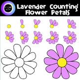 Counting 0-10 Lavender Flower Petals Yellow Center & B/W -