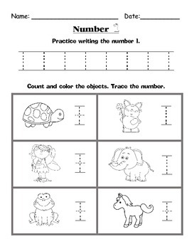 Counting 1-10 Practice Worksheets