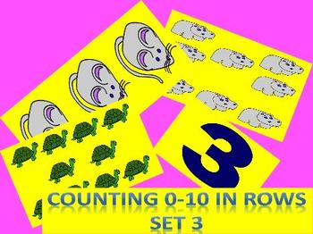 Counting 0-10 for Kindergarten, Subitizing 4 Sets of Objects (Slide Show)