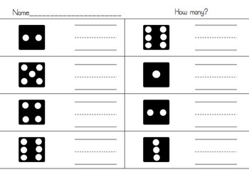Counting 0-10 with dice, ten frames, and dominos