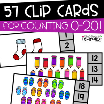 Counting 0-20 Clip Cards by Education and Inspiration #teachersremember