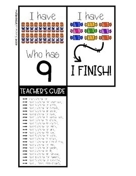 Counting 0-20 I Have Who Has by Education and Inspiration