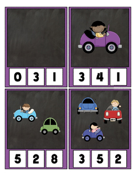 Counting 0 to 20 ~ Cute Cars Clip Cards Math Center Printable Halloween~