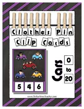 Counting 0 to 20 ~ Cute Cars Clip Cards Math Center Printa