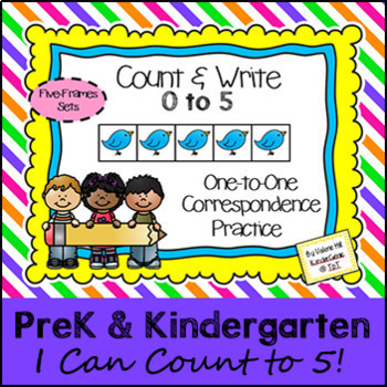 Counting 0 to 5 with Five Frames - PreK & Kindergarten