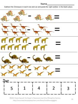 Dinosaurs Kindergarten Math Centers Counting Addition and Subtraction Worksheets