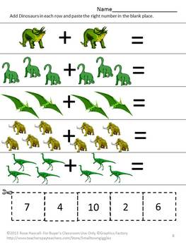 Dinosaurs Kindergarten Math Centers Counting Cut and Paste Fine Motor