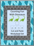 Dinosaurs Math Cut and Paste Worksheets Counting Addition Subtraction Activities