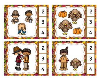 Counting 1-10 Clip Cards: First Thanksgiving