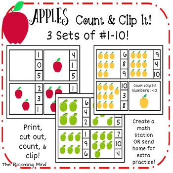 Number Clip Cards {Apples}
