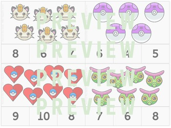 Counting 1-10 Clip Task Cards featuring Pokemon-Go!