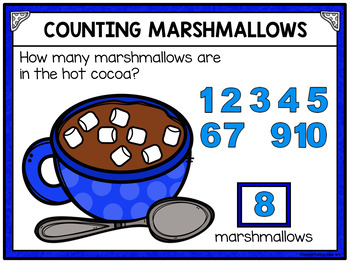 Counting 1-10 Cocoa and Marshmallows for Google Drive and Google Classroom