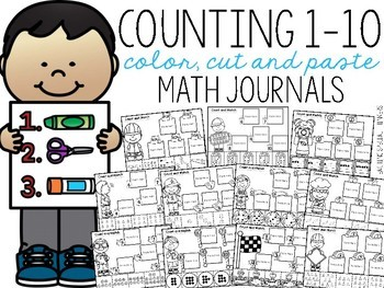 Counting 1-10 Color, Cut, and Paste Math Journal for Special Education
