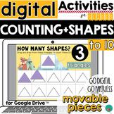 Counting 1-10 Digital Shapes Google Classroom Activity DIS