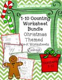 Counting 1-10 PreK Worksheet Bundle - Christmas Themed