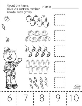 Counting 1-10 PreK Worksheet Bundle - Fall Themed