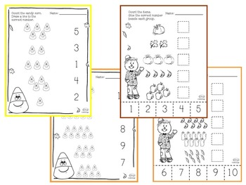 Counting 1-10 PreK Worksheet Bundle - Fall Themed