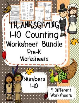 Counting 1-10 PreK Worksheet Bundle - Thanksgiving Themed